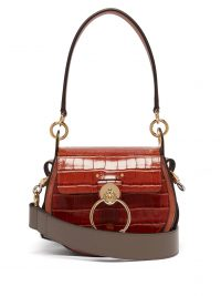 CHLOÉ Tess small crocodile-effect leather cross-body bag in brown