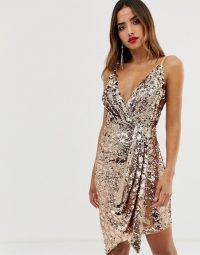 TFNC wrap front mini sequin dress | plunge front neckline | asymmetric party dresses
