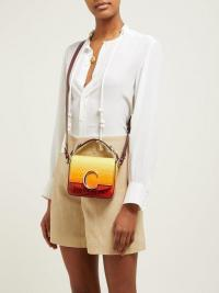 CHLOÉ The C mini crocodile-effect leather cross-body bag in yellow ~ small ombre bags