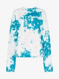The Elder Statesman Marble Dyed Effect Fleece Sweatshirt in Blue and White / dropped shoulder sweat top / tie dye effect