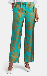 THE GIGI Amaya Tropical-Floral Silk Trousers in Turquoise