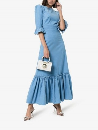 The Vampire's Wife Festival Maxi Dress in blue | frill trim prairie style dresses