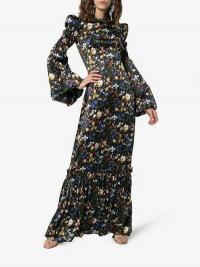 The Vampire's Wife Nine Floral Print Tiered Hem Silk Maxi Dress in Black