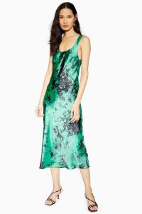 TOPSHOP Tie Dye Built Up Slip Dress Green