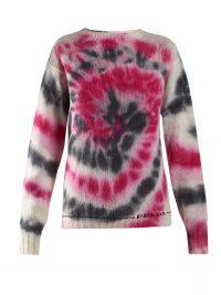 PRADA Tie-dye wool blend sweater / pink and black crew neck jumper