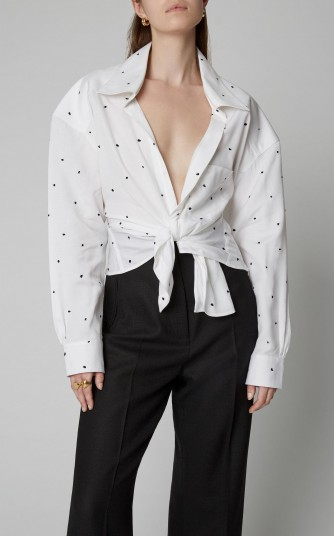 Jacquemus Tie-Front Dotted Broadcloth Shirt in white ~ tailored oversized shirts