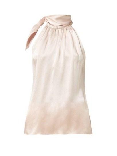 ZIMMERMANN Tie-neck pink silk-satin blouse ~ feminine gathered neckline top - flipped