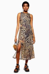 TOPSHOP Tiger Sleeveless Mesh Midi Dress / front slit animal print summer dresses