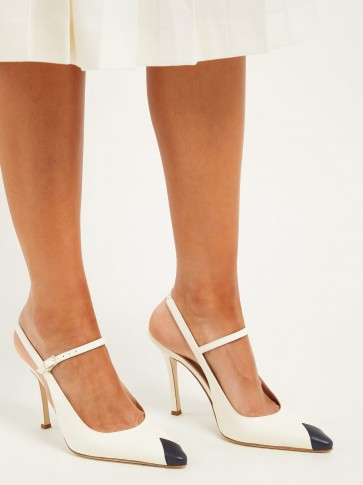 ALESSANDRA RICH Toe-panel leather slingback pumps in ivory ~ chic Mary Jane shoes