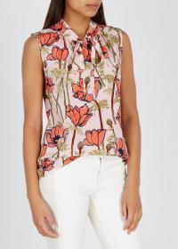 TORY BURCH Poppy-print silk top / draped neck tie tops
