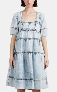 ULLA JOHNSON Devi Light-Blue Acid-Washed Denim Dress