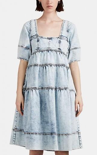 ULLA JOHNSON Devi Light-Blue Acid-Washed Denim Dress