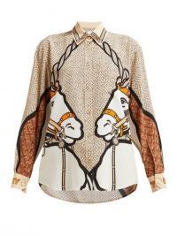 BURBERRY Unicorn-print silk blouse Beige. UNICORNS. ANIMAL PRINTS