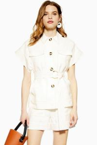 TOPSHOP Utility Short Sleeve Blazer in Ivory. CHIC UTILITARIAN FASHION