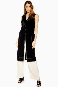 TOPSHOP Utility Sleeveless Duster Coat in Black. SLEEVELESS UTILITARIAN COATS