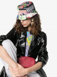 Versace Multicoloured Floral Print Logo Plaque Silk Bucket Hat / colourful summer hats