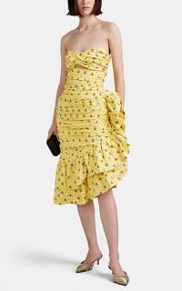 VIVETTA Pontassieve Yellow Bow-Pattern Cotton Dress ~ strapless ruffled dresses