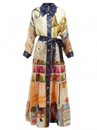 RIANNA + NINA Volant tiered-skirt silk shirtdress ~ multi-coloured maxi shirt dress