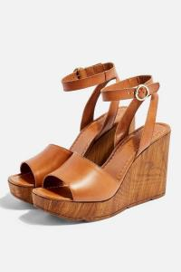 Topshop WANDER Tan Wedges | brown wedged heels