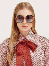GUCCI Web-striped geometric acetate & metal sunglasses in green and red | large retro eyewear