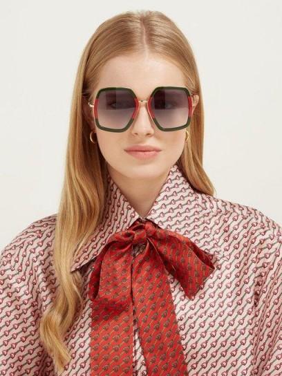GUCCI Web-striped geometric acetate & metal sunglasses in green and red | large retro eyewear
