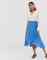 Whistles Luna spot wrap midi skirt in blue