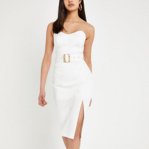RIVER ISLAND White belted bodycon midi dress – strapless party dresses