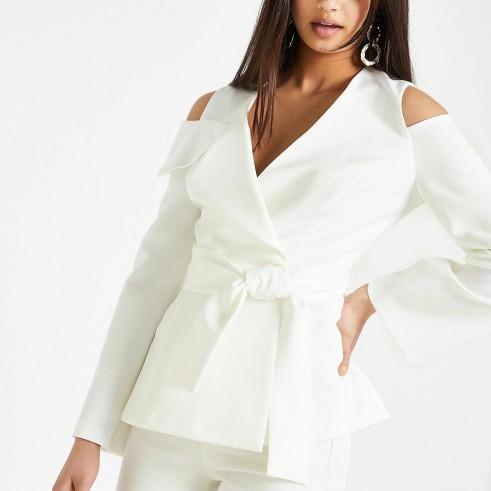 River Island White cold shoulder blazer | chic evening jackets