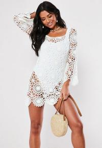 MISSGUIDED white crochet bardot flare sleeve mini dress ~ summer knitwear