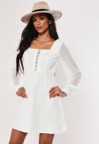 MISSGUIDED white organza hook & eye milkmaid mini dress ~ square neck summer dresses