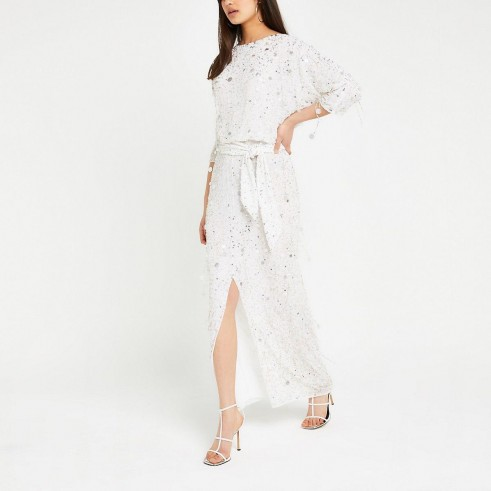 River Island White sequin embellished maxi dress | long luxe dresses