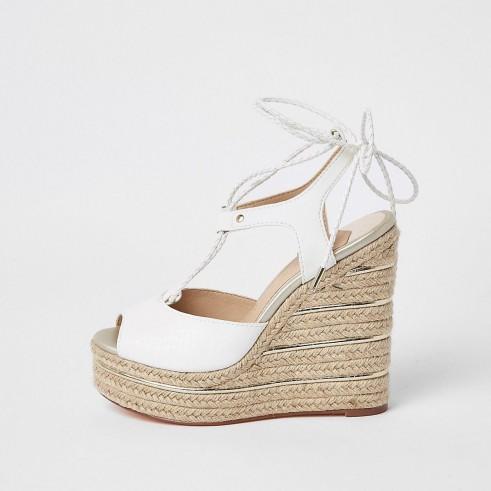 River Island White tie up espadrille wedges | wedged summer sandals