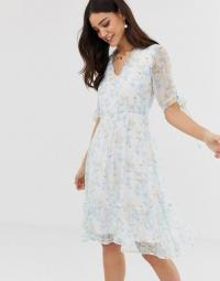 Y.A.S Watercolour Floral Sheer Mini Dress / tie sleeve summer occasion dresses