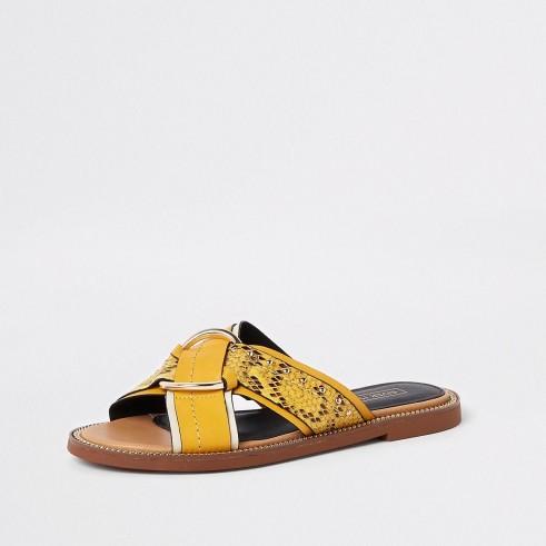 River Island Yellow cross strap ring flat sandals | summer snake print flats