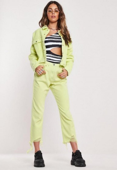 MISSGUIDED yellow neon washed wrath co ord distressed hem denim jeans ~ summer denim - flipped