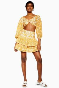 Topshop YELLOW PRINTED BRODERIE TOP AND SKIRT SET | summer sets | skirts and tops