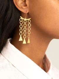 PIPPA SMALL TURQUOISE MOUNTAIN Zeeb triple-drop 18kt gold-plated earrings ~ statement drops