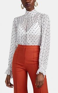 ZIMMERMANN Zippy Roll Neck Blouse in white ~ feminine polka dot blouses
