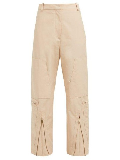 STELLA MCCARTNEY Zip-front cotton-blend trousers in pink