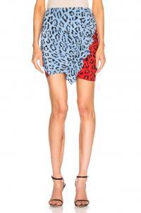A.L.C. Geller Skirt Blue & Red Multi / ruffled animal print mini
