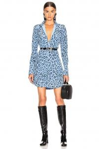 A.L.C. Marcella Dress Blue & Black / animal printed fashion