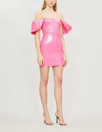 ALEX PERRY Elliot off-the-shoulder sequinned bodycon dress pink