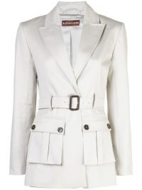 ALEXA CHUNG Jackie belted jacket in pale grey ~ safari style jackets