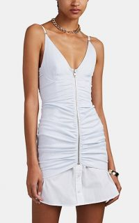 ALEXANDER WANG Pinstriped Ruched Poplin Cami Dress ~ front gathered dresses