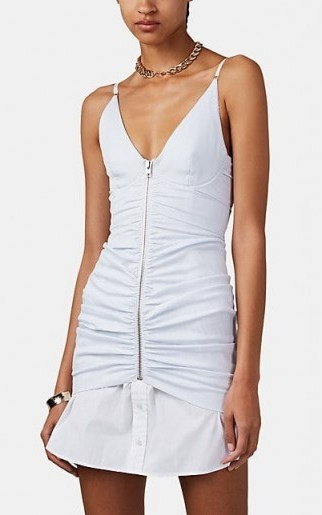 ALEXANDER WANG Pinstriped Ruched Poplin Cami Dress ~ front gathered dresses - flipped