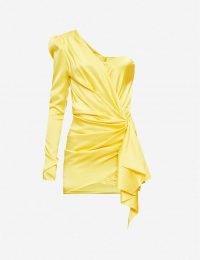 ALEXANDRE VAUTHIER One-shouldered silk-satin mini dress lemon