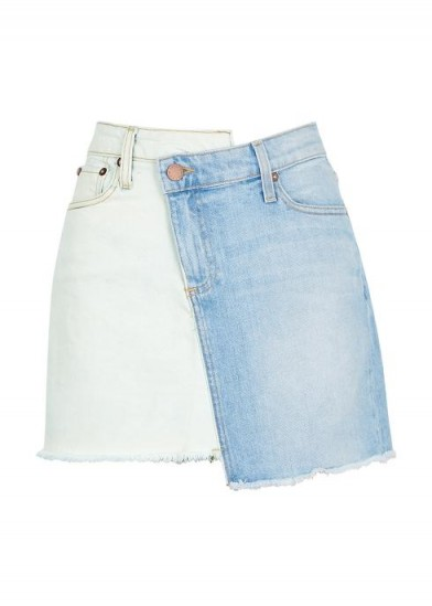 ALICE + OLIVIA Amazing Two Tone denim mini skirt ~ asymmetric colour block skirts