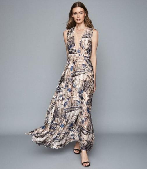 REISS ALIX MARBLE PRINTED MAXI DRESS BLUE/ WHITE ~ long fluid dresses