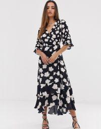 AllSaints delana caro floral print wrap maxi dress in black / ruffle hemline dresses