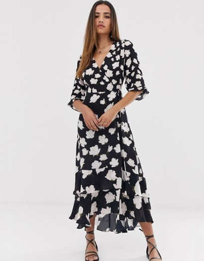 AllSaints delana caro floral print wrap maxi dress in black / ruffle hemline dresses